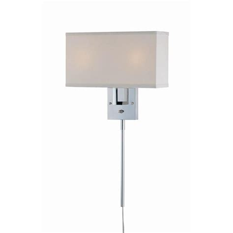 illumine 2 light wall sconce chrome finish white fabric