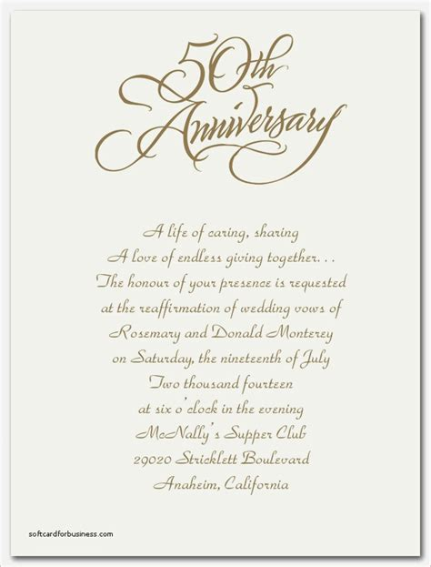 wedding anniversary invitation templates invitation 50th anniversary wording gallery invitation