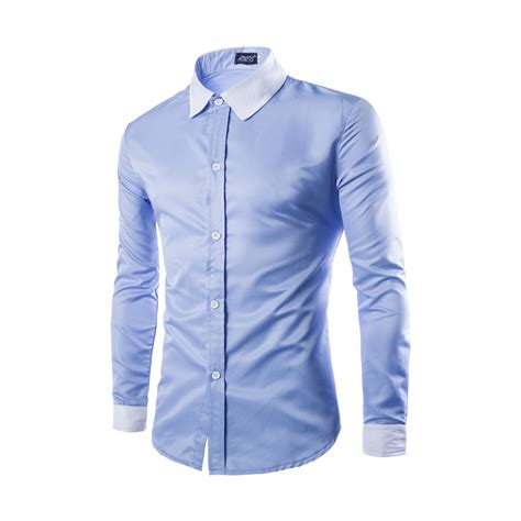 fashion s shirt tops cotton blend sleeve slim fit