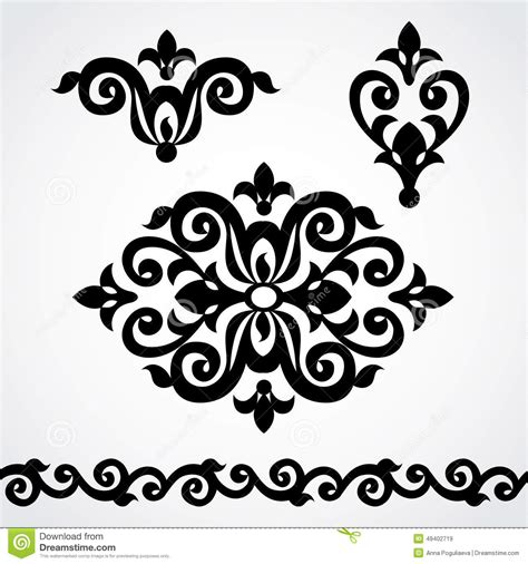 victorian design elements vector vector set with classical ornament in victorian style