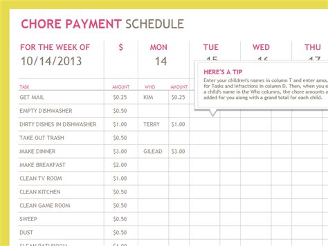 payment list template chore payment schedule templates office