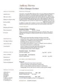 Sle Of Office Manager Resume by Office Manager Cv Sle
