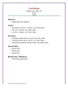 Resume Sample Basic by Basic Chronological Resume Template