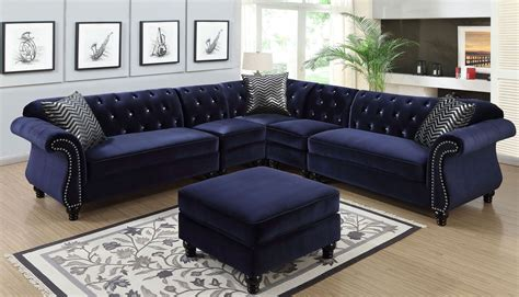 furniture of america sofa jolanda ii blue sectional from furniture of america