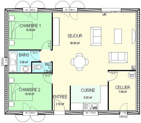 Plan De Maison Plain Pied 2 Chambres 3338 by Construction 86 Fr Gt Plan Maison Plain Pied Traditionnel