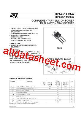 transistor e13007 datasheet pdf tip142 datasheet pdf stmicroelectronics