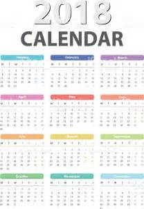 Calendar 2018 Vector Design Calendar For 2018 Starts Monday Vector Calendar Design