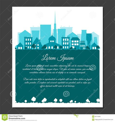 Landscape Greeting Card Template by Flat City Landscape In Blue Colors Stock Vector Image