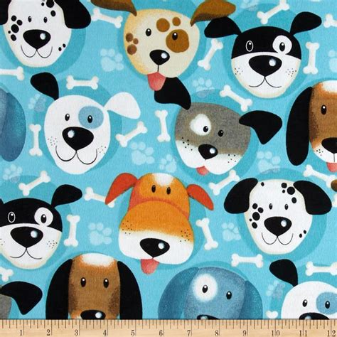 puppy fabric flannel faces bone turquoise discount designer fabric fabric