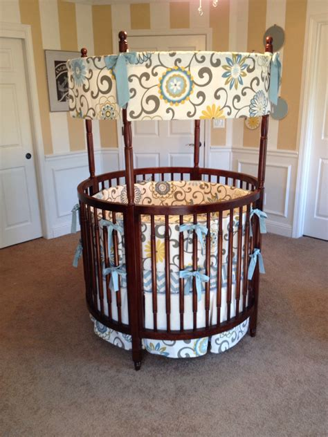 round crib bedding custom round crib bedding blue yellow and cream made to order