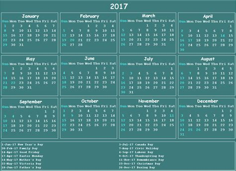 Calendar Canada 2017 Calendar Canada 2017 Calendar Printable For Free