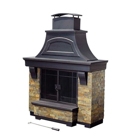 faux outdoor fireplace sunjoy jasper 72 in steel and faux stack outdoor place 110504003 the home depot