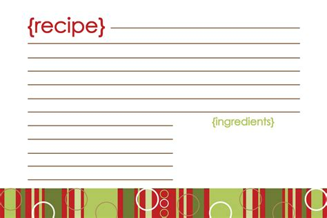 printable recipe card template 6 best images of printable recipe cards free