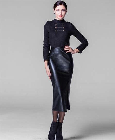 20609 Black S M Sale Leather Skirt 2015 fashion mid calf ol pu leather skirt pencil slim hip thick black winter warm skirts
