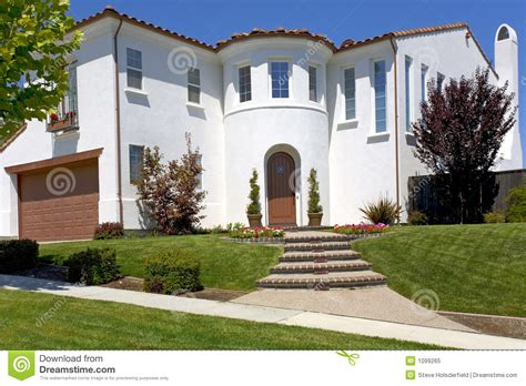 large spanish style ranch home stock image image 24083641 large spanish style home with a turret royalty free stock