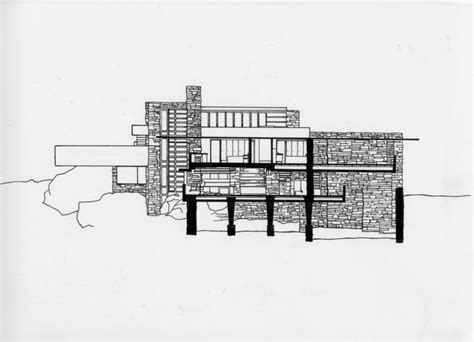 falling water section elevation native stone ink on mylar sketch from