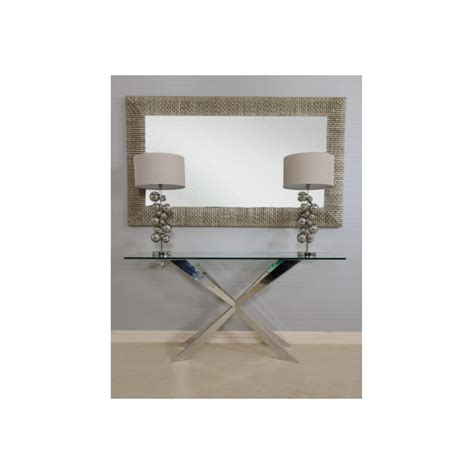 06 high grade stainless steel glass coffee table tv cleo console table in polished stainless steel with glass
