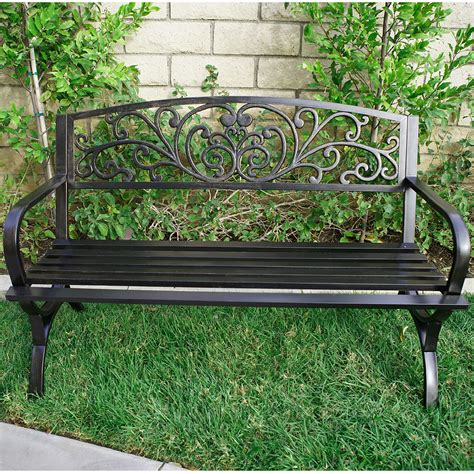 metal porch bench outdoor metal bench garden patio furniture seat yard porch