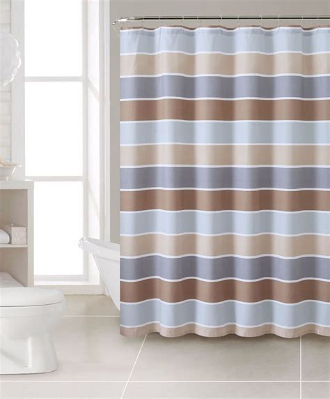 Beige And White Striped Curtains Brown Beige Gray White Striped 100 Cotton Fabric Shower Curtain Cinder Ebay