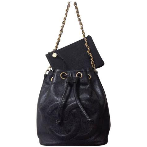 Chanel Shoulder Pouch Bag vintage chanel black caviar leather hobo shoulder