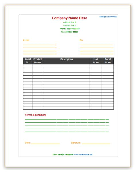 Sales Receipt Template Microsoft Office Templates Microsoft Excel Receipt Template