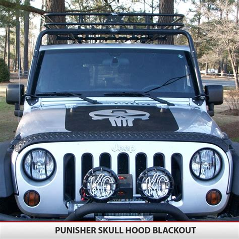 blackout jeep wrangler punisher skull vinyl decal jeep blackout hood vinyl