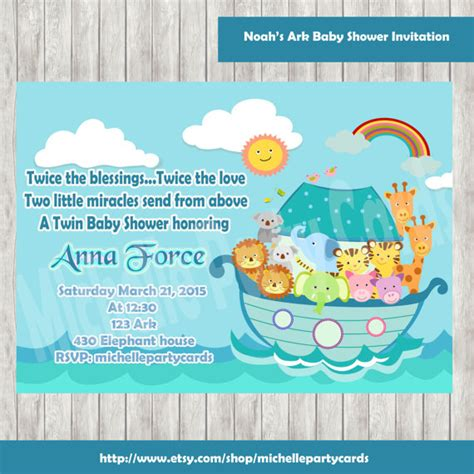 Noah Ark Baby Shower Theme by Noah S Ark Baby Shower Invitation Noah S Ark Birthday
