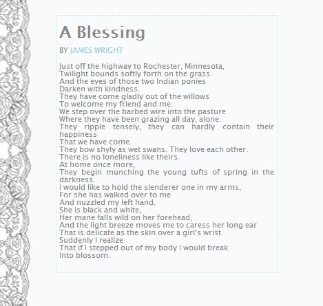 themes of a blessing by james wright wandering child