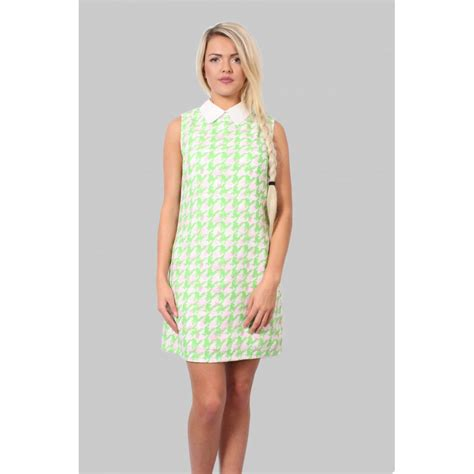 Patterned Sleeveless Dress green patterned sleeveless shift dress from parisia