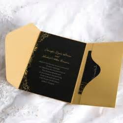 black and gold wedding invitations black and gold pocket wedding invite inps041 inps041