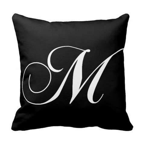 M Pillow by Black White Monogram M Designer Monogrammed Pillow Zazzle