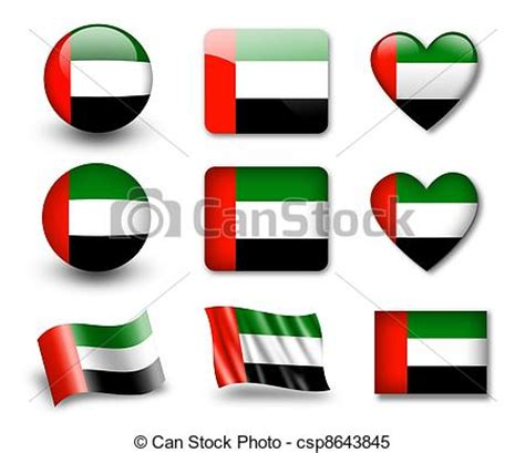 Arabic Flag Set 3in1 stock illustrations of the uae flag the united arab emirates flag set of icons csp8643845