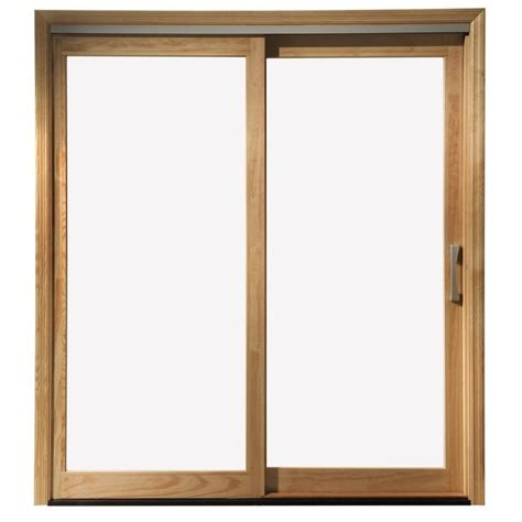 Wooden Patio Doors Shop Pella 450 Series 71 25 In Clear Glass Wood Sliding