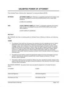 business power of attorney template unlimited power of attorney template sle form