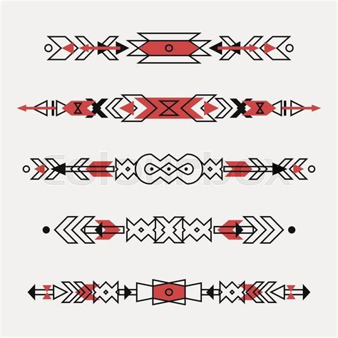 Ikat Home Decor by Vector Set Of Decorative Ethnic Borders With American