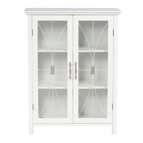 White Storage Cabinet With Doors Decofurnish Cabinet Door Glass