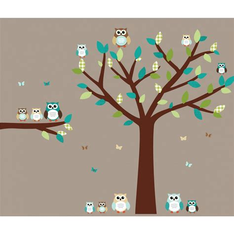 teal wall stickers teal owl wall decal with tree wall decals for bedrooms