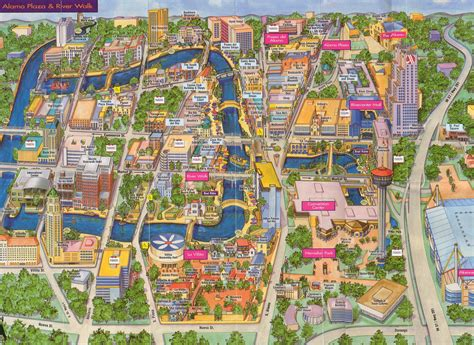 texas attractions map san antonio riverwalk map pdf