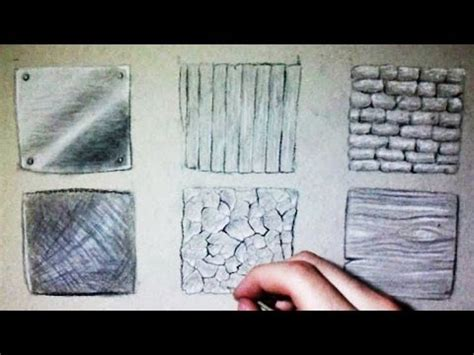 drawing time lapse: 6 different textures (wood, metal