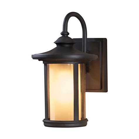 Shop Allen Roth 13 In Black Outdoor Wall Light At Lowes Com Allen Roth Landscape Lighting