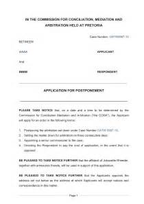 application for postponement of arbitration in the ccma
