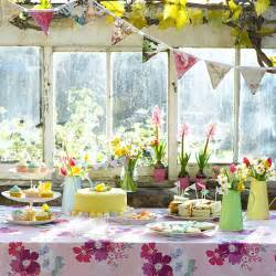 Easter Buffet Table Decorations Easter Buffet Spread With Floral Tablecloth Easter Table