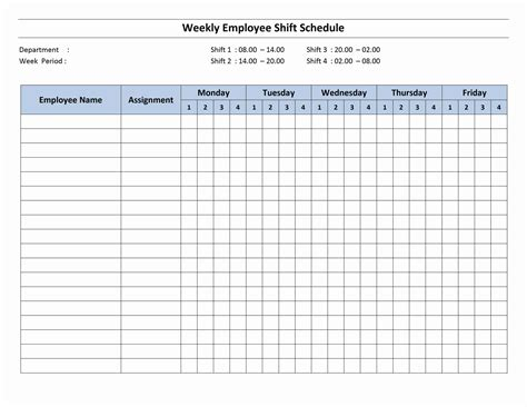4 Shift Schedule 2 Shift Schedule Template