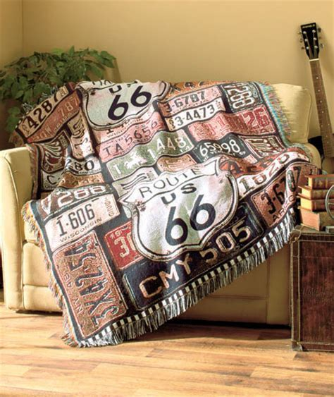route 66 woven throw blanket vintage looking home sofa