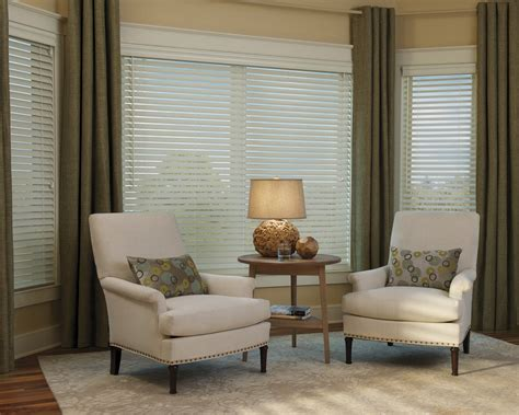 Bow Window Curtain Rod faux wood blinds metro blinds window treatments