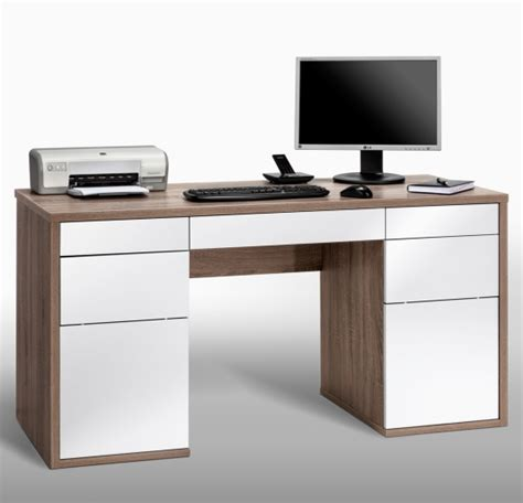 White Computer Desk With Drawers Lorna White Gloss And Truffle Oak Computer Desk With Drawers Computer Desks Workstations