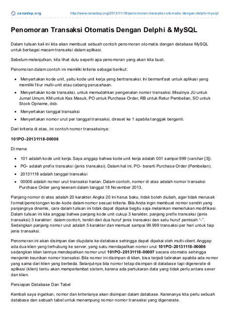 tutorial delphi dan mysql cenadep org tutorial penomoran transaksi otomatis dengan
