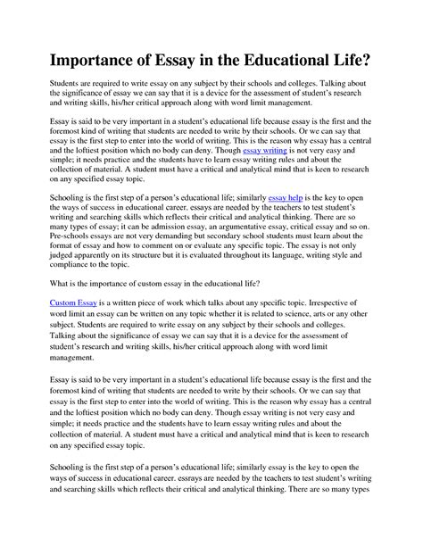 Education Essays by Importance Of A College Education Essay Botbuzz Co