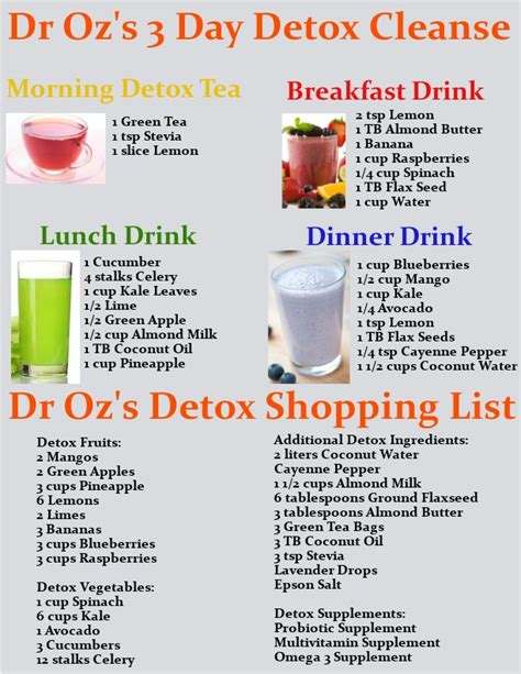 Detox Diet Juice And Food by Dr Oz S 3 Day Detox Cleanse Drink Recipes Printable