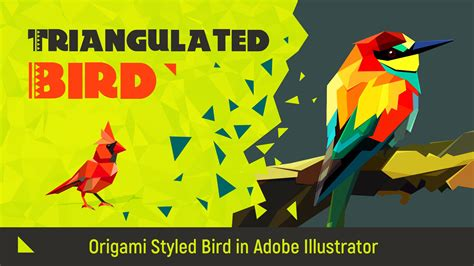 Origami Illustrator - triangulated bird origami styled bird in adobe